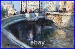 Merio Ameglio Tableau 50/60 Peinture Hst Paris Le Pont Neuf DIM 10f Superbe