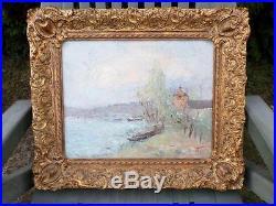 Michel Calvet (Né en 1956) Barques Bord de Rivière Huile sur toile. 33x41 cm