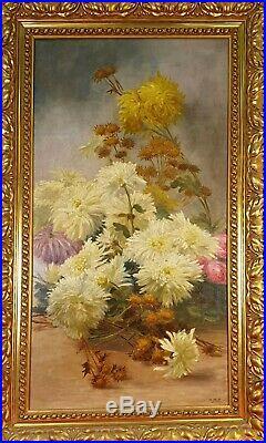 Nature Morte Avec Fleurs. Huile Sur Toile. Signé M. Mir. XX Siecle