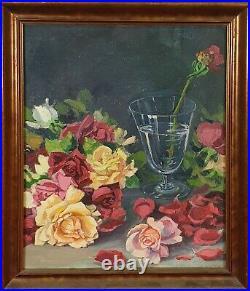 Nature Morte Avec Roses. Huile Sur Toile. Unsigned Century XX