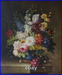 Nature morte fleurs tableau peinture huile sur toile signée
