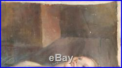 Nu Huile Toile 66x90 Etude Femme Nue Ecole Anglaise Americaine XIX XX Peinture