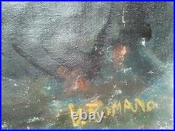 Nue peinture huile toile 90-70 cm Italie 1969