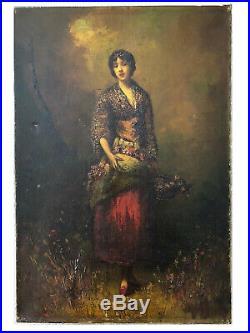 Old Oil Painting 19 century Peinture Ancienne Woman Portrait, Flowers