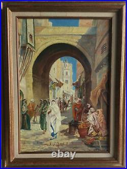 Orientaliste, Huile sur toile, SBD Pierre Victor Cretin, la médina, bien encadré