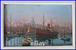 PEINTURE DE MARINE port de MARSEILLE navire cargo et remorqueur vers 1910