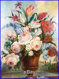 PEINTURE DU 19 e DE BOISERIE BOUQUET DE FLEURS (GRAND MODELE) 109 cm x 83