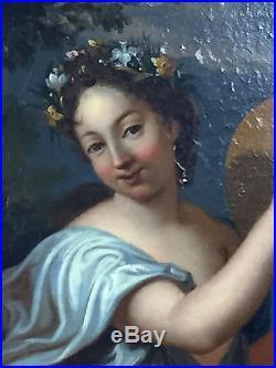 PEINTURE ECOLE FRANÇAISE DU XVIII e SIECLE FEMME AU TAMBOURIN 49 CM X 59 CM
