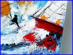 PEINTURE TABLEAU bateaux marine course à la voile toile signée TINOCO cote AKOUN