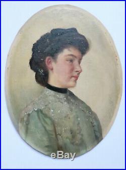 PEINTURE XIXème PORTRAIT JEUNE FILLE AU RUBAN NOIR