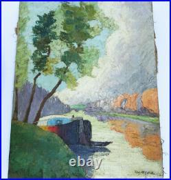 PÉNICHE EN BORD DE SEINE 1908 FAUVISME Toile 6F Signé Ray DEBAYLE XXe CADRE