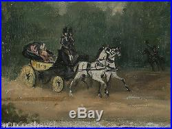 PETITE PEINTURE A L'HUILE SUR TOILE, calèche, chevaux, attelage, XIXème