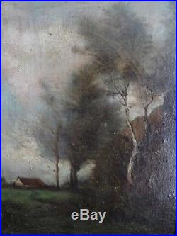 PUISSANTE PEINTURE, PAYSAGE DU XIXe, ÉCOLE DE BARBIZON DANS L'ESPRIT DE C. COROT