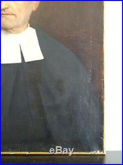 PUISSANTE PEINTURE-XIXe-PORTRAIT D'HOMME SIGNÉ-UN FRÈRE DES ÉCOLES CHRÉTIENNES