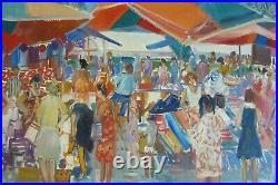 P Eychart tableau nouvelle école Paris moderne HST marché Vintimiglia Italie 69