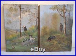 Paire Ancien Tableau Peinture Huile Signées Sicard 1904 Chasseur Chien Bécasse