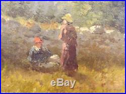 Paire d'Huile sur Toile, Peinture Impressionniste XIXe siècle. Décor Champêtre