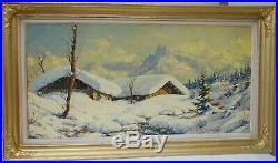 Paul Corbet. Chalets enneigés, les aiguilles de Chamonix. HsT. Cadre 66x117 cm