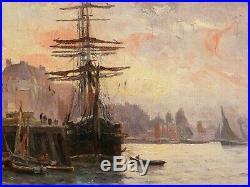 Paul MORCHAIN tableau marine huile port DOUARNENEZ Bretagne Crépuscule bateau