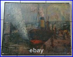 Paul Mascart Ecole De Rouen Impressionniste Marine Cargos Au Port