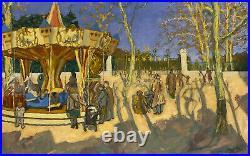 Paya Emile (1949.) huile sur toile, signature recto- Lyon Manège