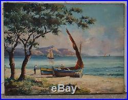 Paysage Marin Provence Antibes Cote Azur Mer Mediterranee Tableau Ancien