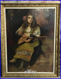 Peinte / huile sur toile La Bohémienne signé Léon Bonnat 1860