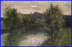 Peinture 19e siècle école de Barbizon signée datée 1881 barque sur la rivière