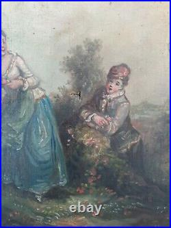Peinture Ancienne XIX ème s, scène romantique huile sur toile