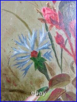 Peinture Ancienne Xix° 1897 Signée Vincent CL Fleurs Huile / Toile Cadre Doré