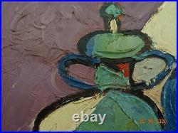 Peinture Cubique Huile Sur Toile. Signature Claude Venard. 1960/70