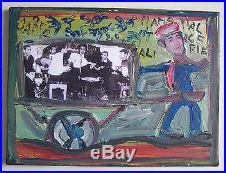 Peinture Et Collage Sur Toile Jaber 40 X 29.5 CM Signe Et Date