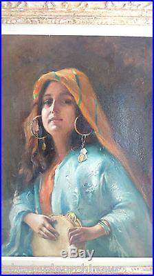 Peinture Femme orientale 1917. Painting 1917 signed J SILVERA