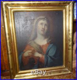 Peinture HST Mater Dolorosa Vierge de prière école italienne ou française