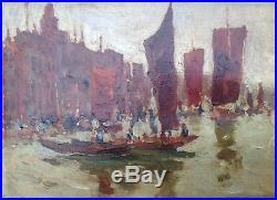 Peinture Huile Sur Toile Bateaux Lagune De Venise Italie 1924 Superbe Signature