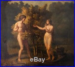 Peinture Huile sur Toile 18ème Adam et Eve