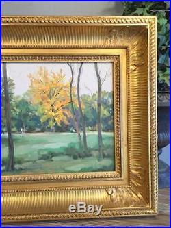 Peinture Russe De Poustochkine / Huile Sur Toile Signée  Le Bois De Boulogne