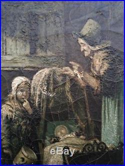 Peinture SCENE D'INTERIEUR AVEC ENFANTS Tableau XIXe Signature A RESTAURER