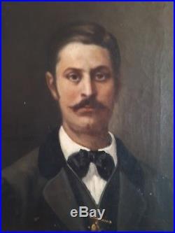 Peinture XIX ème portrait signé homme tarbes bigorre antic painting france cadre
