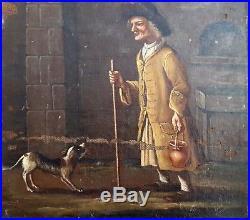 Peinture XVII école flamande chien painting flemish pittura tableau