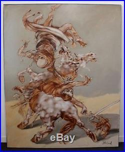 Peinture à l'huile La mort tombant sur le cavalier Claude Weisbuch 162x130