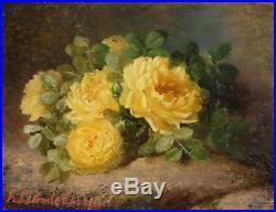 Peinture à l'huile de Alexina LECOMTE (1834-) Bouquet de fleurs