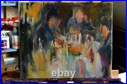 Peinture à l'huile sur toile, Paysage signé Josette Zenatti (1930-2008) LE REPAS