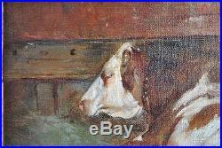 Peinture à l'huile sur toile XIXème signé Fronti à la vache