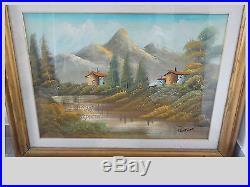 Peinture à l huile sur toile de lin 50x70 XXe siecle paysage de provence