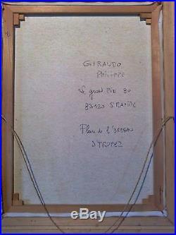 Peinture à l'huile sur toile encadrée SAINT-TROPEZ Philippe GIRAUDO