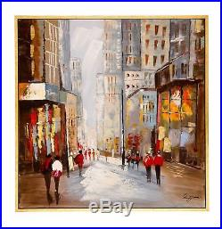 Peinture à l´huile sur toile scène de rue dans la ville New York 104 cm