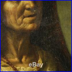 Peinture ancien tableau sur toile portrait huile personnage populaire italien
