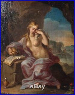 Peinture ancienne 18ème, Sainte Madeleine, Huile sur toile