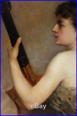 Peinture ancienne 19ème, Femme de profil jouant de la Mandoline